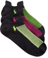 Polo Ralph Lauren Women's Double Tab Microfiber Contrast Mesh Socks 3 Pack