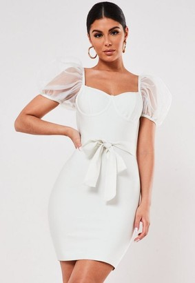 Missguided Premium White Organza Puff Sleeve Bandage Mini Dress