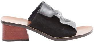 Celine Black Leather Mules & Clogs