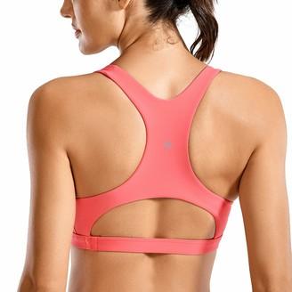 CRZ YOGA Women's Bikini Top V-Neck Workout Sport Swimwear Racerback Bathing Suits Lilac Stone M(12)