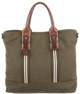 Prada Leather-Trimmed Canvas Messenger Bag