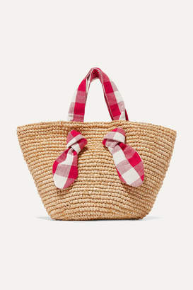 Loeffler Randall Hazel Raffia And Gingham Canvas Tote - Beige