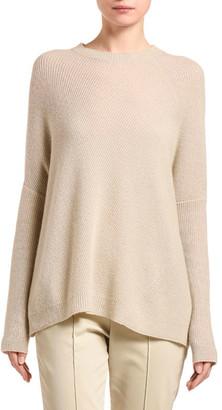 Agnona Cashmere Diagonal-Ribbed Poncho Sweater