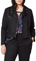 Rachel Roy Plus Size Women's Stretch Cotton Moto Jacket