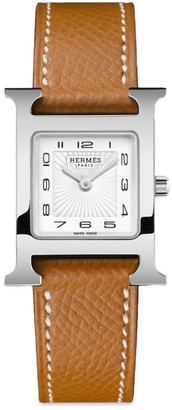 Hermes Heure H 21MM Stainless Steel & Leather Strap Watch