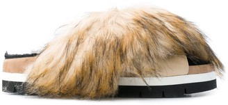 MSGM faux fur trimmed sandals