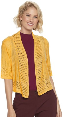 Nina Leonard Women's Open-Front Crochet Bolero