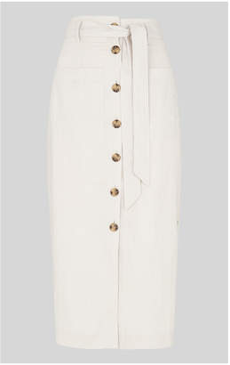 Whistles Linen Tie Button Skirt