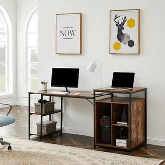 Inbox Zero Reversible Desk Color (Top/Frame): Brown/Black