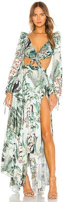PatBO Eden Print Cut Out Maxi Dress
