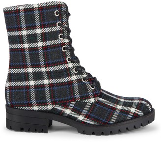RENVY Plaid Lace-Up Booties