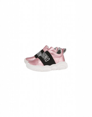 Moschino Laminated Sneakers Teddy Shoes Jewel Elastic Band Unisex Pink Size 22 It - (5.5k/6k Us)
