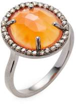 Bavna Women's Silver Ring with Champagne Rose Cut Diamonds & Carnelian Stone