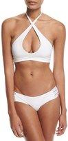 Vitamin A Camilla Solid Cross-Neck Swim Top, White