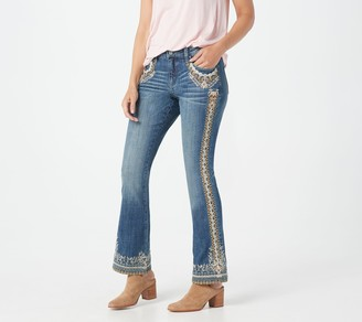 Laurie Felt Classic Denim Floral Embroidered Boot-Cut Jeans