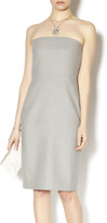Line & Dot Gray Back Slit Dress