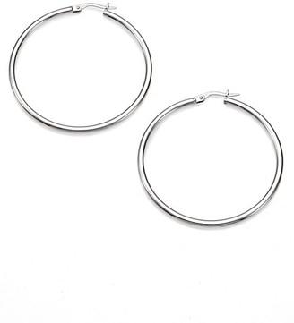 """Roberto Coin 18K White Gold Hoop Earrings/1.75"""""""