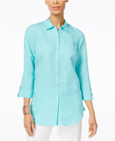 JM Collection Roll-Tab Knit Back Shirt, Only at Macy's