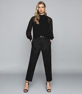 Reiss Sandrine - Semi Sheer Blouse in Black
