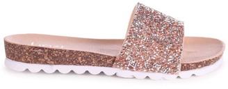 Linzi ELISA - Nude Slip On Slider With Heavy Diamante Embellishment Cleated Sole