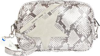 Golden Goose Logo Star Python-Effect Crossbody Bag