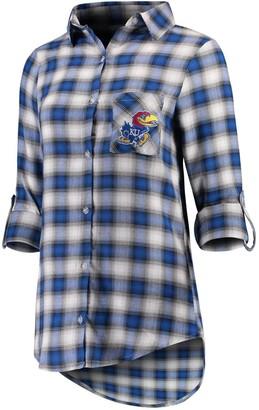 Women's Concepts Sport Royal/Black Kansas Jayhawks Forge Flannel Long Sleeve Button-Up Shirt