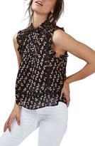 Topshop Women's Ditsy Print Ruffle Sleeveless Blouse
