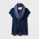 Self Esteem Girls' Lace Detail Blouse Scarf Top - Blue