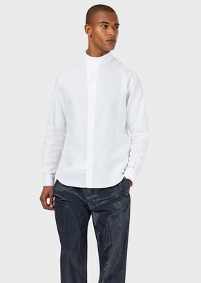 Emporio Armani Textured Cotton Shirt With Mandarin Collar