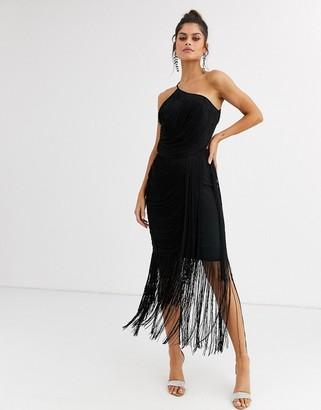 Asos Design DESIGN all over drape fringe one shoulder midaxi dress-Black