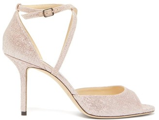 Jimmy Choo Emsy 85 Lurex And Leather Sandals - Womens - Pink