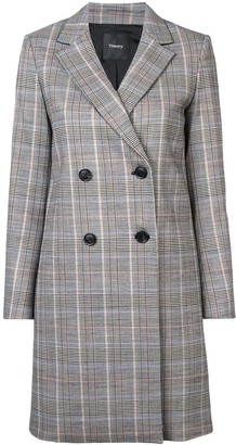 Theory Double-Breasted Plaid Coat