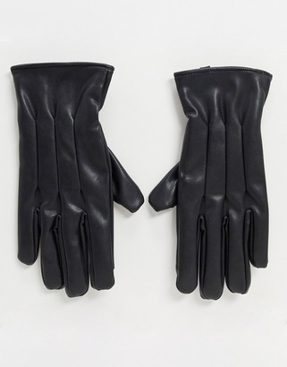 Jack and Jones faux leather gloves in black