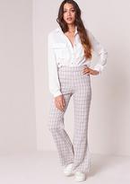 Missy Empire Rafaella Grey Check Print Flared Trousers