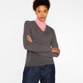Paul Smith Women's Grey Merino Wool V-Neck Sweater With Stripe Detail