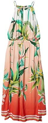 Trina Turk Costa De Prata High Neck Keyhole Midi Dress Swimsuit Cover-Up (Multi) Women's Swimwear