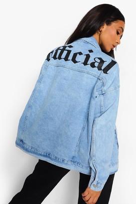 boohoo Back Print Washed Oversized Denim Jacket