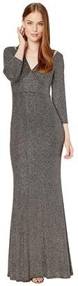 Calvin Klein Sequin Gown with Shoulder Cutout (Black Multi) Women's Dress