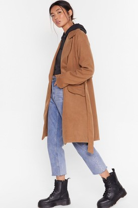 Nasty Gal Womens Grab Your Faux Wool Coat - Camel