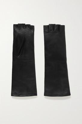 Agnelle Celia Leather Fingerless Gloves - Black