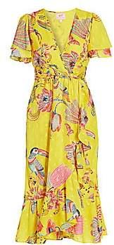 Banjanan Women's Lisbon Palak Print Faux-Wrap Midi Dress
