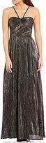 Laundry by Shelli Segal Foil Pleated Sleeveless Sweetheart Neck Gown