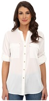 Calvin Klein Crew Neck Roll Sleeve Blouse