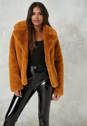 Missguided Mustard Faux Fur Collar Coat
