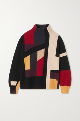 Akris Color-block Metallic Cashmere-blend Turtleneck Sweater - Green