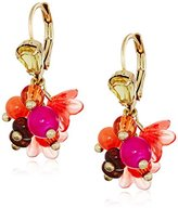 """Betsey Johnson Tropical Punch"""" Mixed Beaded Cluster Drop Earrings"""