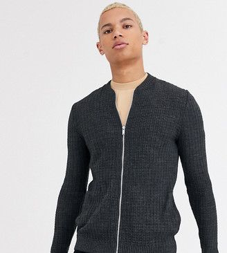 ASOS DESIGN Tall muscle fit textured knit bomber jacket in charcoal