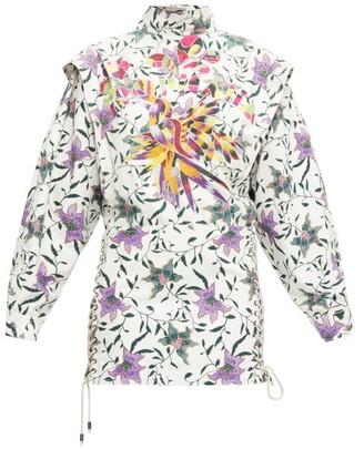 Isabel Marant Givens Floral-print Canvas Mini Dress - Womens - White Multi