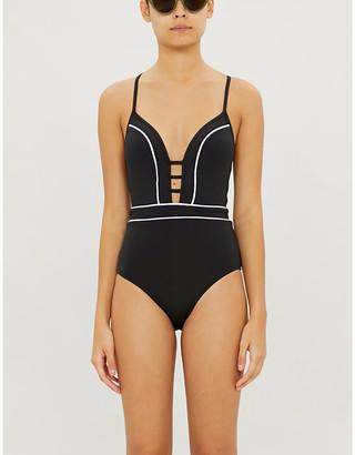 Jets Plunge-neck swimsuit