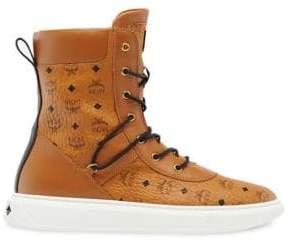 MCM Men's Visetos High-Top Logo Boots - Cognac - Size 46 (13)